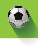 Soccer ball o na green background. Vector illustration.