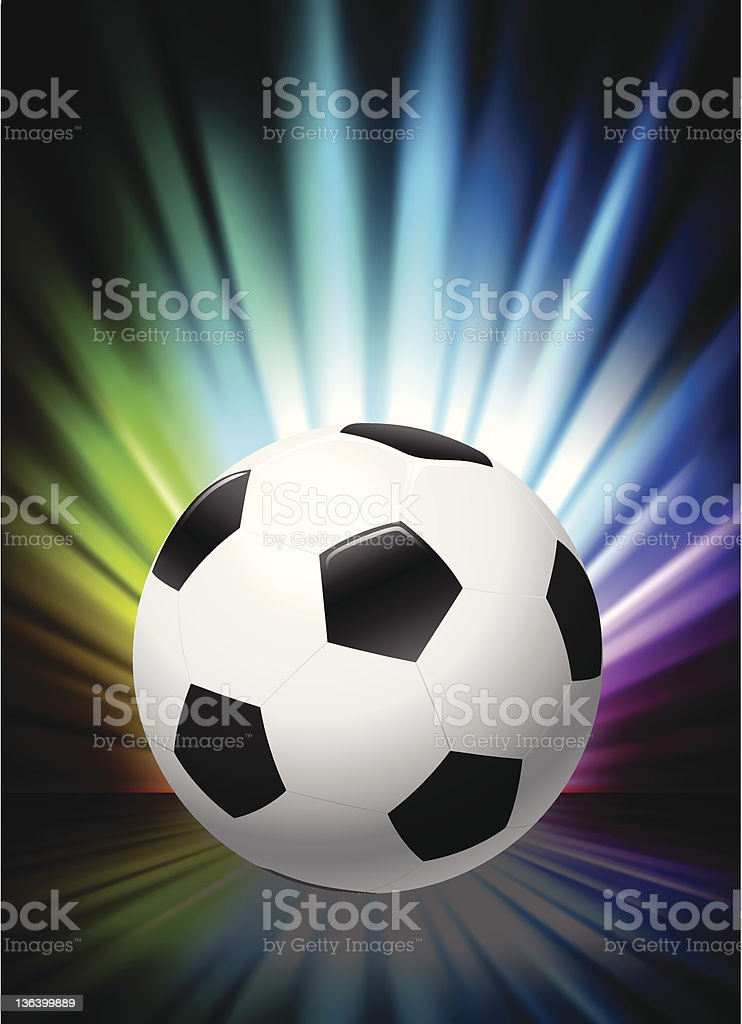 Soccer Ball on Abstract Spectrum Background royalty-free stock vector art