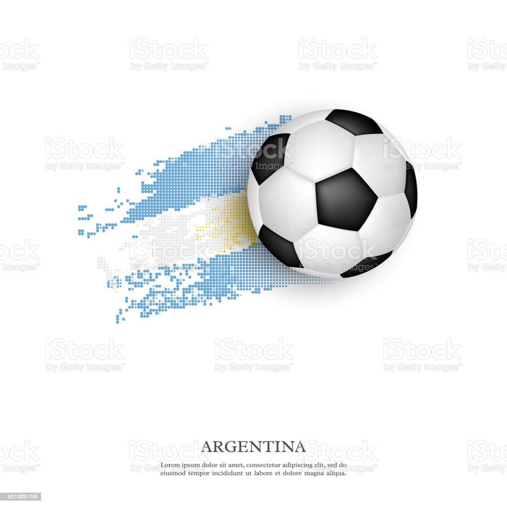 Balón de fútbol en la bandera Argentina. - ilustración de arte vectorial
