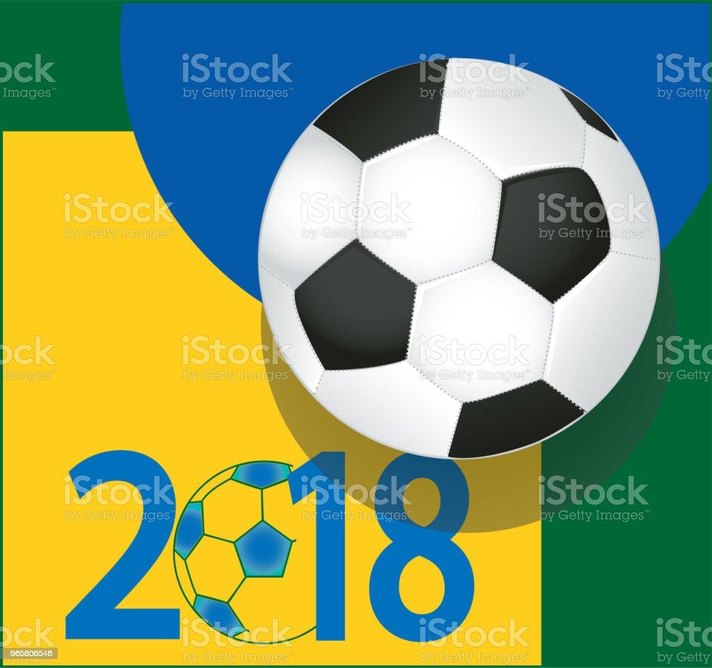 Balón de fútbol en vector de fondo de colores azul amarillo y verde bandera  brasileña. 452893b832529