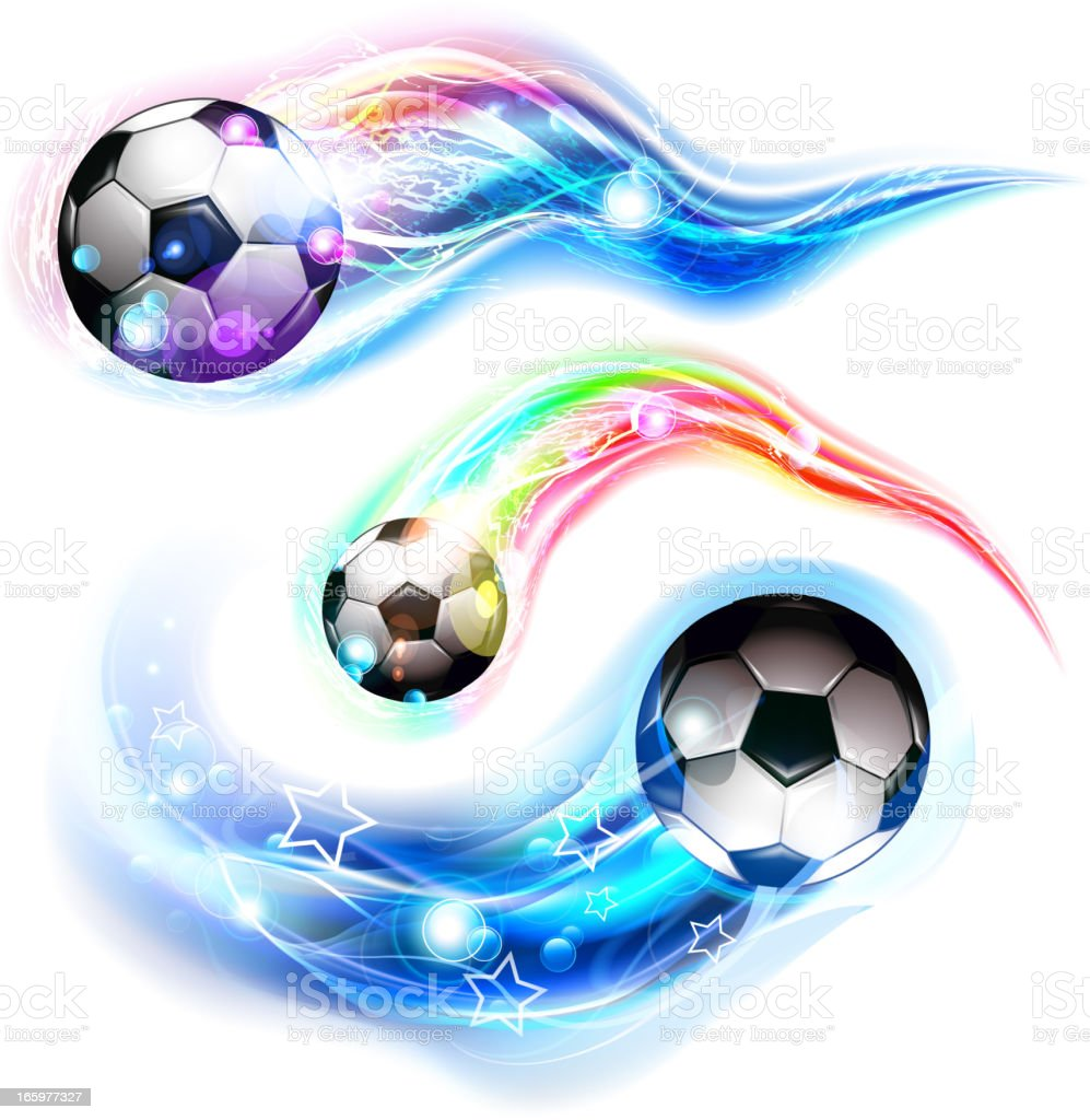 Soccer ball on colorful trail vector art illustration