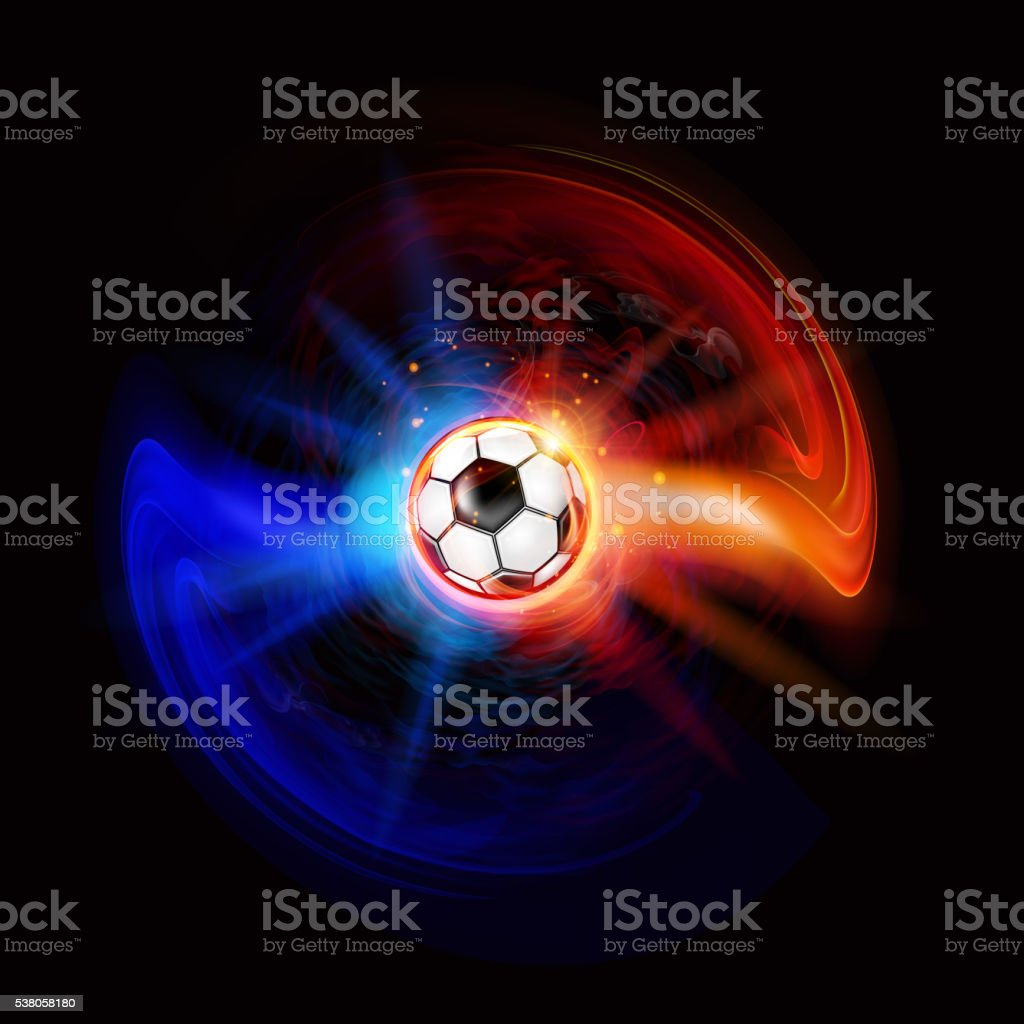 Soccer ball on effect background vector art illustration