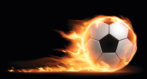 bildbanksillustrationer, clip art samt tecknat material och ikoner med soccer ball on fire - fotboll eld