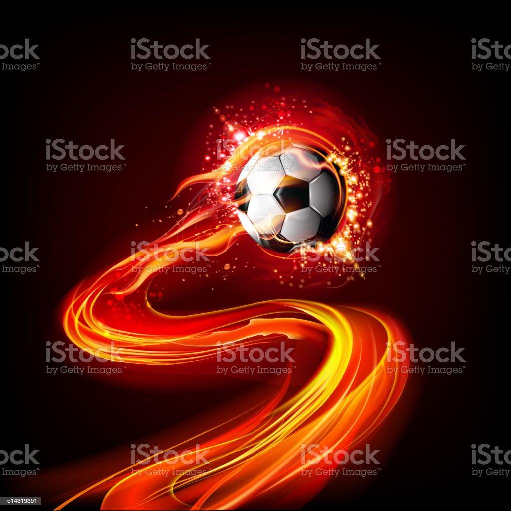 Soccer ball on fire vector art illustration