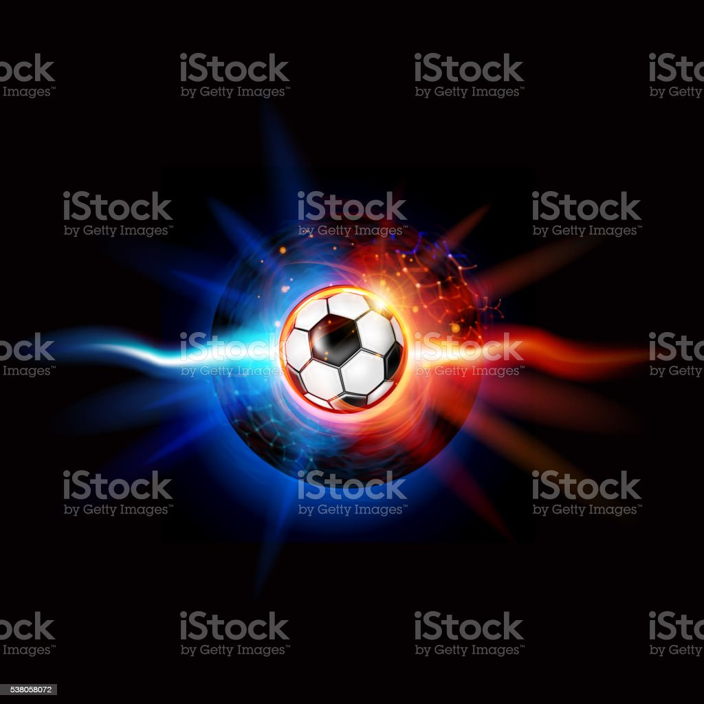 Soccer Ball on Fire vector art illustration