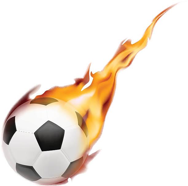 bildbanksillustrationer, clip art samt tecknat material och ikoner med soccer ball on fire. vector illustration on white background - fotboll eld