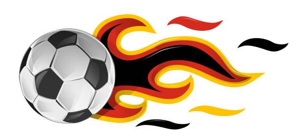 bildbanksillustrationer, clip art samt tecknat material och ikoner med fotboll i brand med tyskland flagga. illustration - fotboll eld