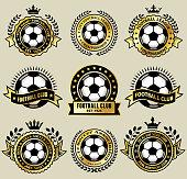 Soccer Ball on Gold Badges Icon Set