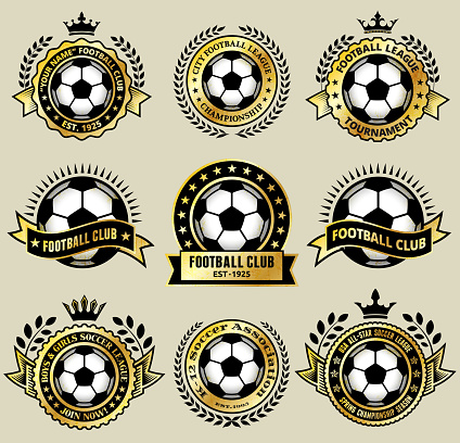 Soccer Ball on Gold Badges royalty free vector icon set