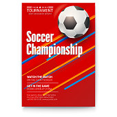 Soccer ball on graphics background. Poster of tournament football league. Design of banner for sport events. Template of advertising for championship of soccer or football, 3D illustration.