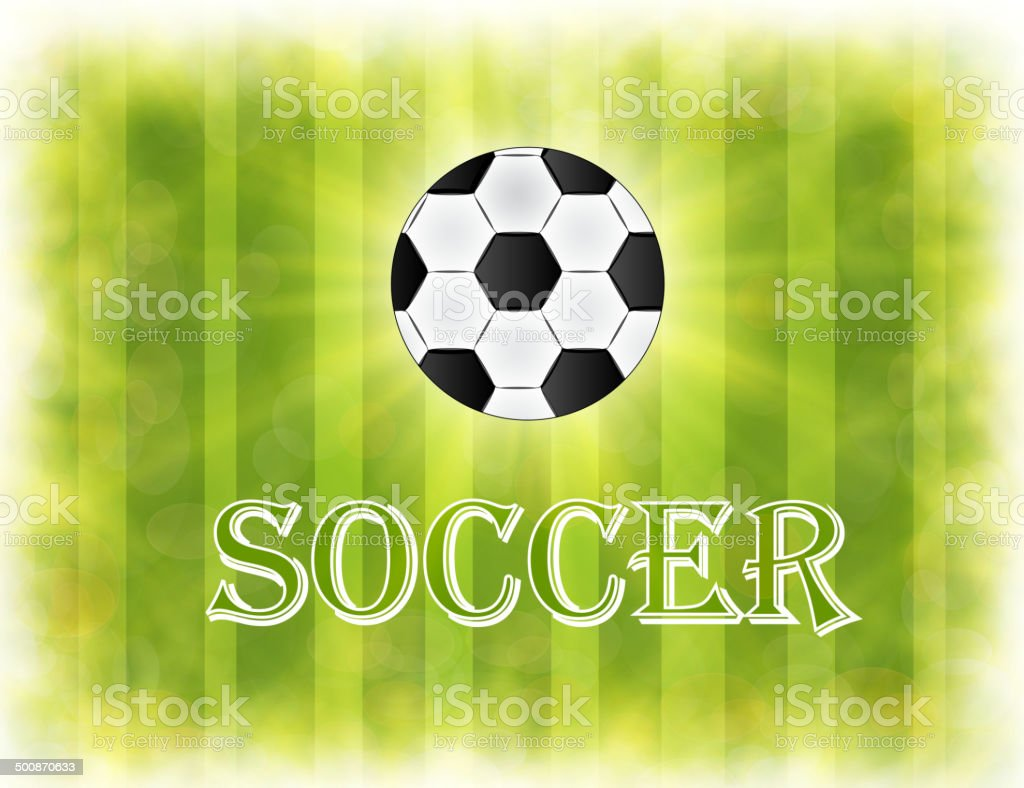 Soccer ball on green background poster royalty-free soccer ball on green background poster stock vector art & more images of 2014