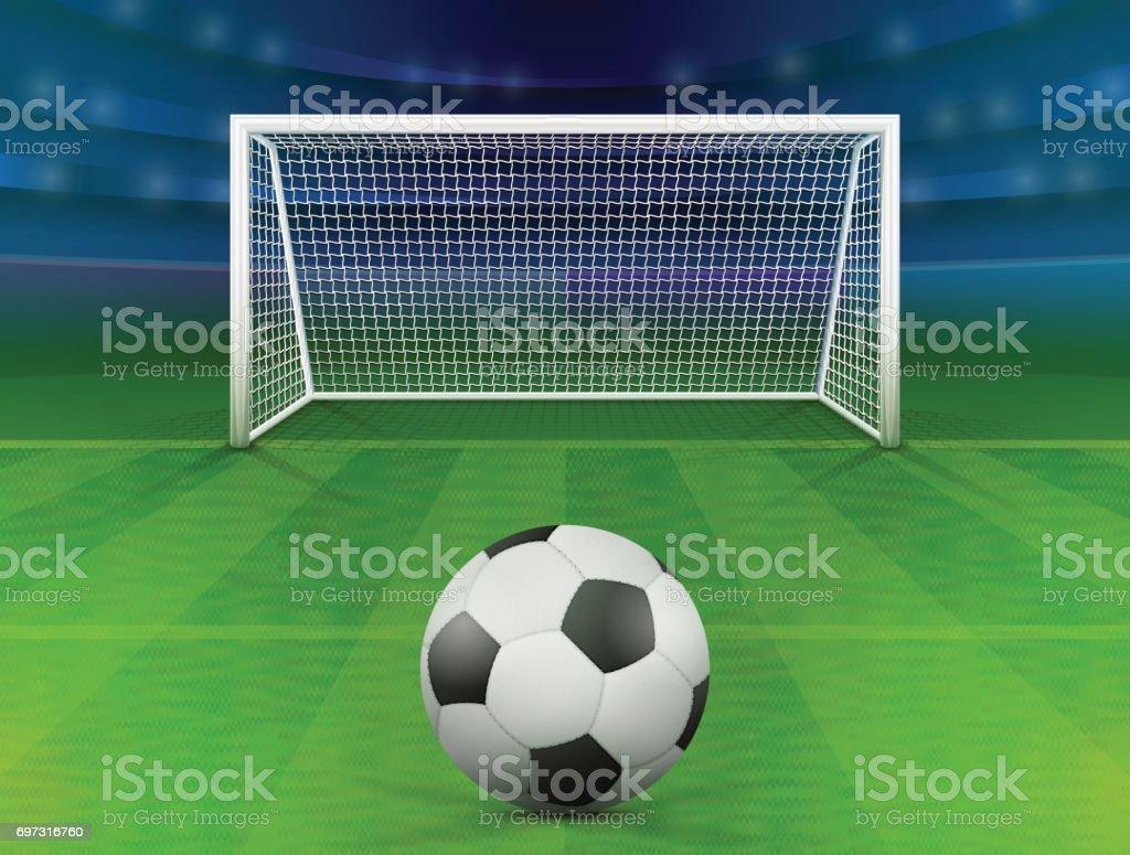 Balón de fútbol en campo verde frente poste - ilustración de arte vectorial