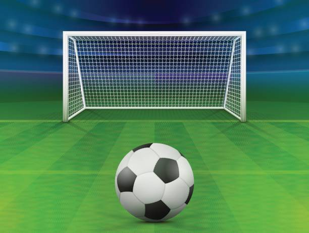soccer ball on green field in front of goal post - football field stock illustrations