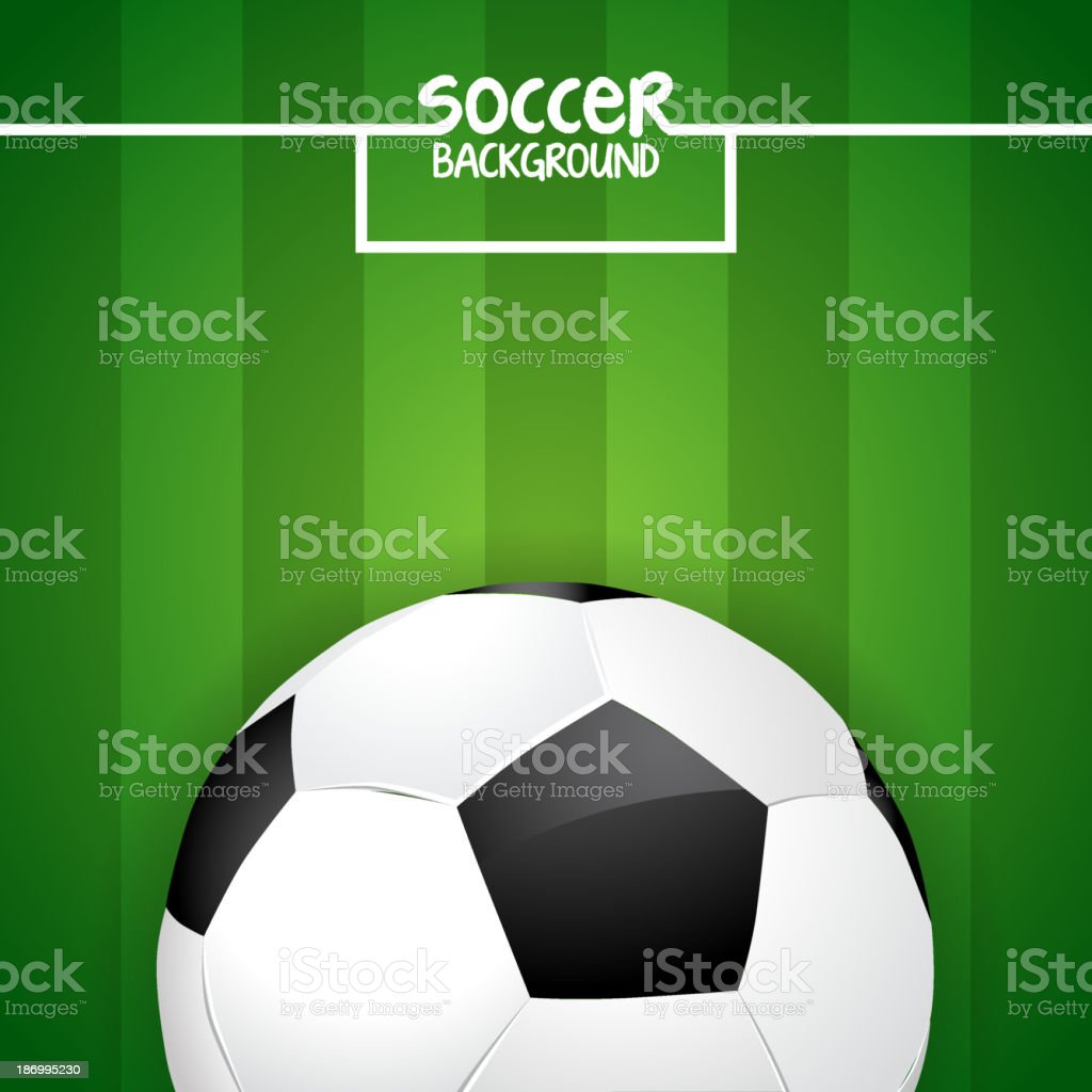 Soccer ball on green field with goal lines royalty-free stock vector art