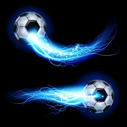 Soccer ball on lightning
