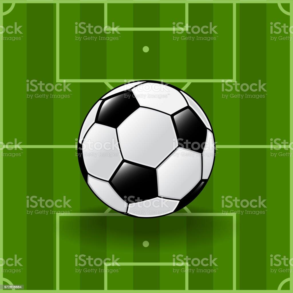 Soccer ball on soccer field background, Football tournament, for...