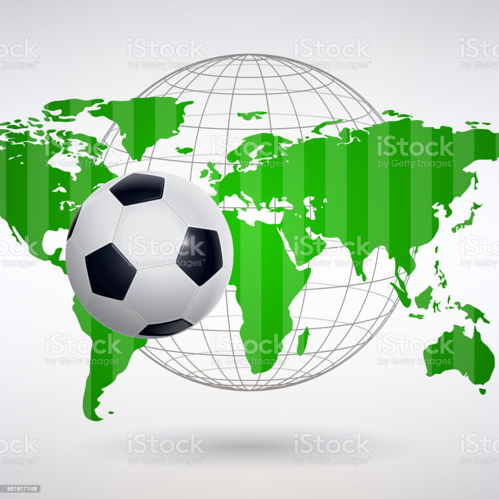 Soccer ball on the background of the world map stock vector art soccer ball on the background of the world map royalty free soccer ball on the gumiabroncs Gallery