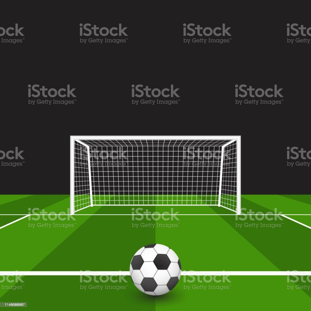 Soccer ball on the grass in front of goal vector illustration