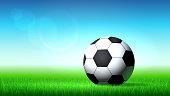 Soccer ball on the grass, soccer stadium