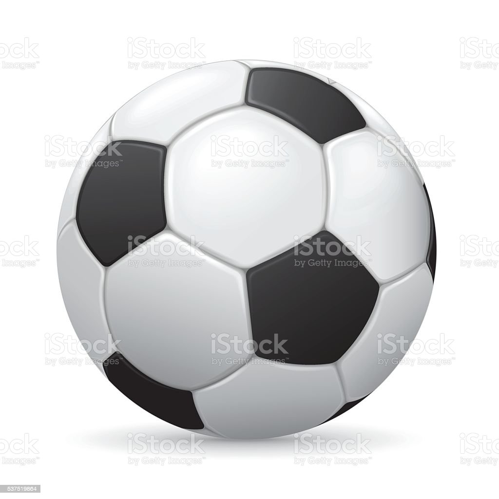 Soccer ball on white background with shadow vector art illustration
