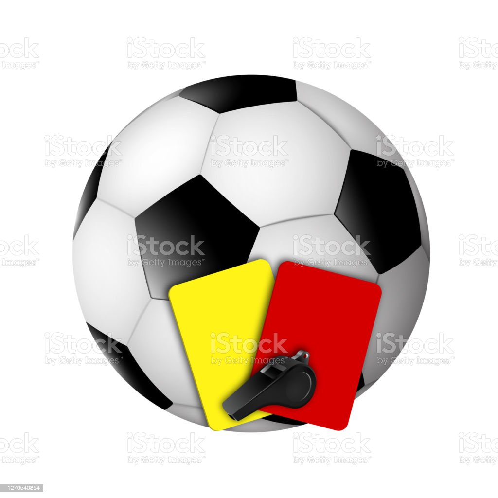 Soccer Ball Referee Whistle Yellow And Red Cards Sports Team Game Pertaining To Soccer Referee Game Card Template