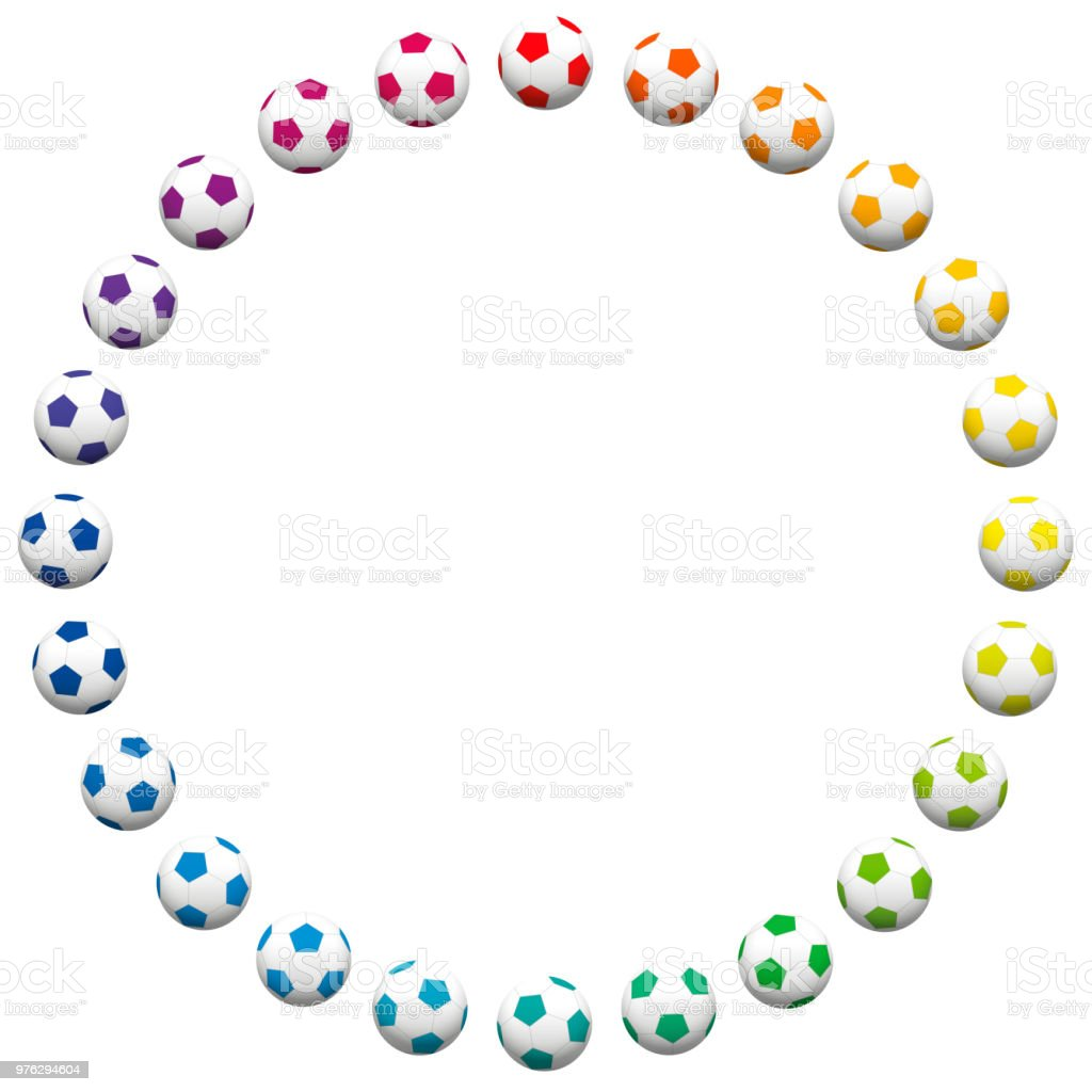 Soccer Ball Ring Round Frame Out Of Many Colorful Soccer Balls ...