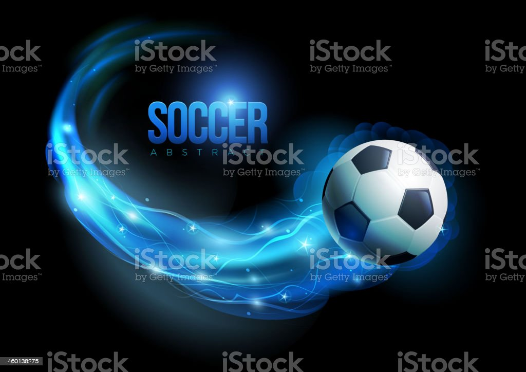 Soccer ball in flames and lights against black background. Vector...