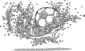 Hand-drawn vector drawing of a Soccer Ball splashing into Water. Black-and-White sketch on a transparent background (.eps-file). Included files are EPS (v10) and Hi-Res JPG.