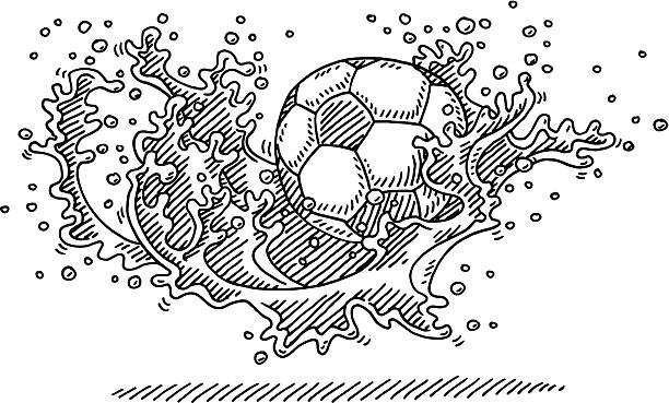 Soccer Ball Water Splash Dynamic Drawing Hand-drawn vector drawing of a Soccer Ball splashing into Water. Black-and-White sketch on a transparent background (.eps-file). Included files are EPS (v10) and Hi-Res JPG. soccer stock illustrations