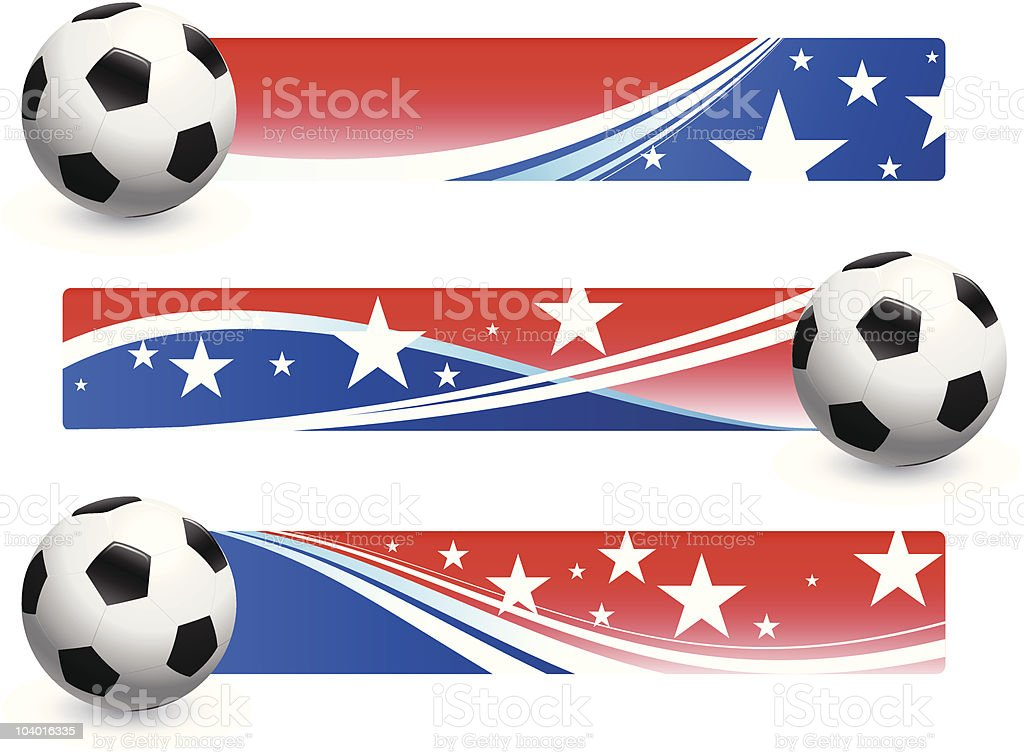 Soccer Ball with American Banners royalty-free stock vector art