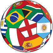 Soccer ball with countries flag