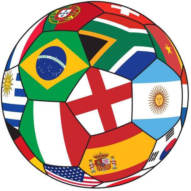 Pelota de fútbol con la bandera de países - ilustración de arte vectorial
