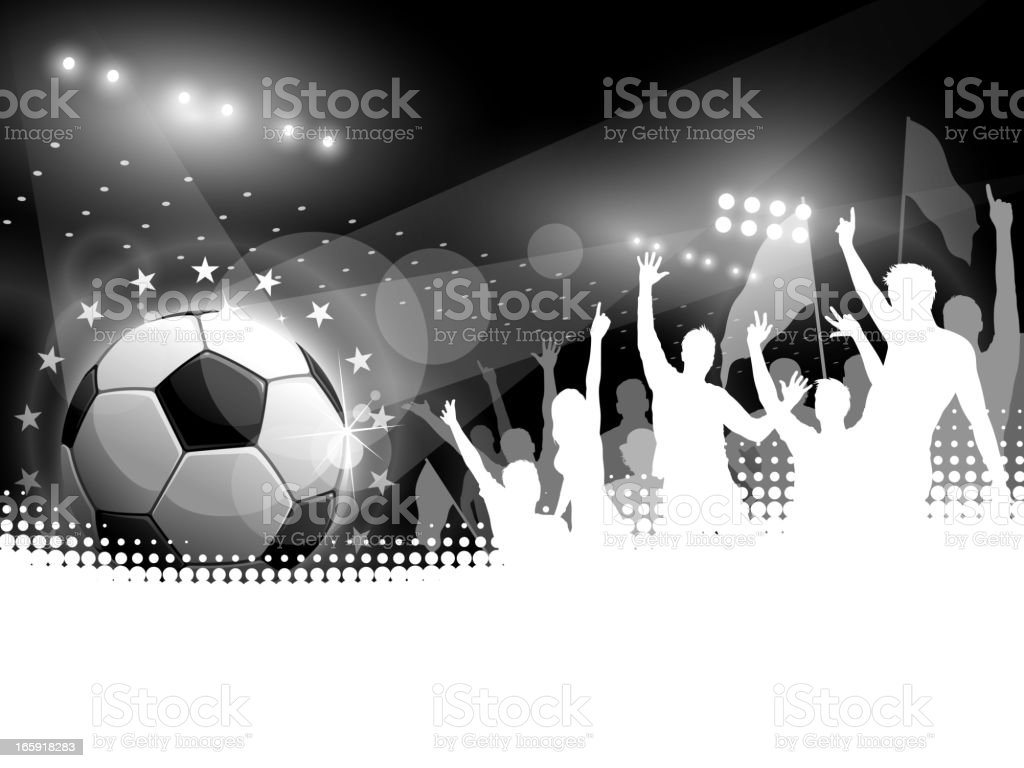 Soccer Ball with Crowd Cheering vector art illustration