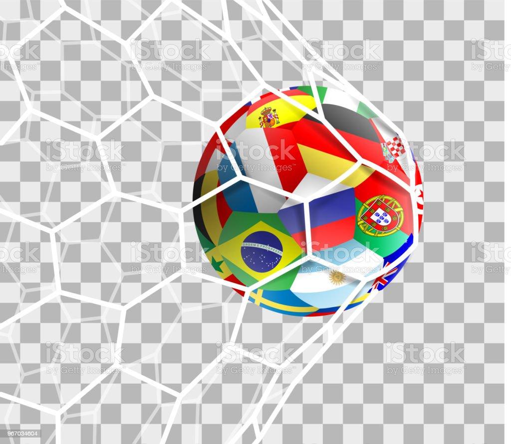 Fußball mit verschiedenen Nationalflaggen im net Tor isoliert – Vektorgrafik