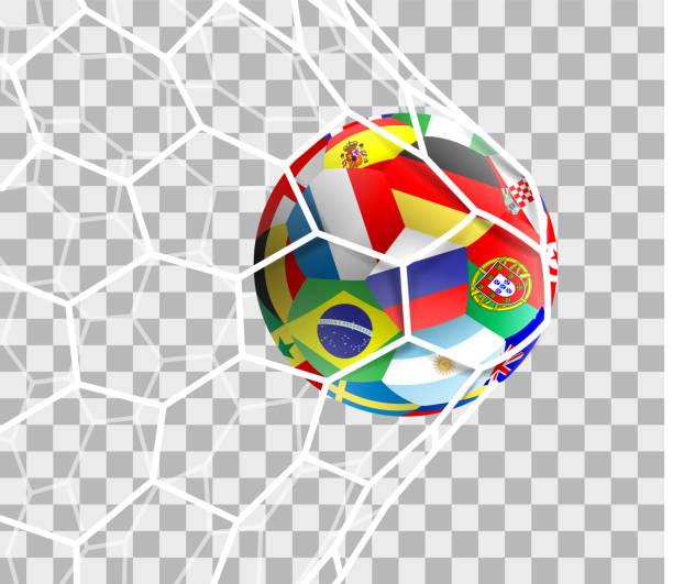 stockillustraties, clipart, cartoons en iconen met voetbal met verschillende nationale vlaggen in het doel net geïsoleerd - internationale voetbal