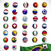 Soccer ball (Football) with flag,