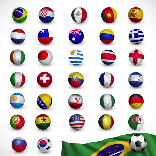 Soccer ball (Football) with flag, vector art illustration