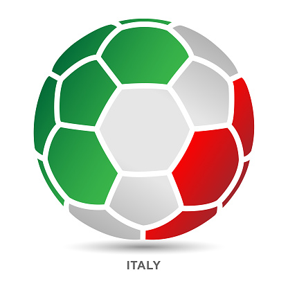 Soccer ball with Italian national flag on White Backgrounds