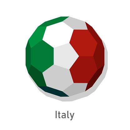3D soccer ball with Italy team flag.