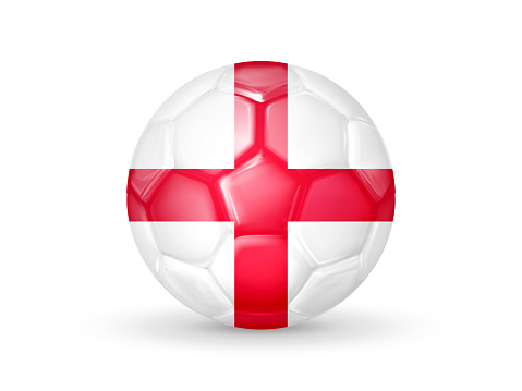 3D soccer ball with the England national flag. English national football team concept