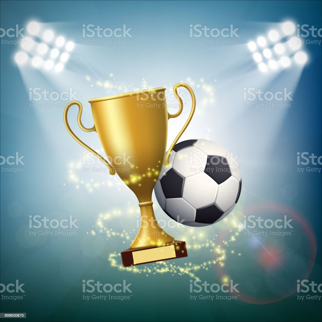 Soccer ball with the golden cup of championship. vector art illustration