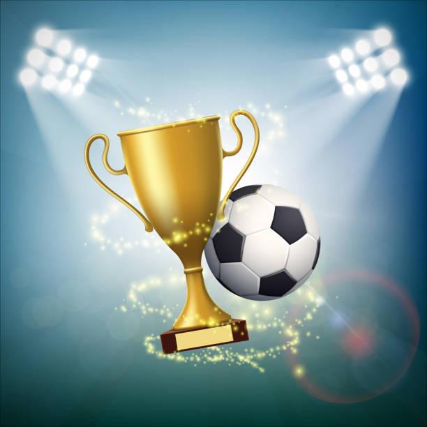 stockillustraties, clipart, cartoons en iconen met voetbal met de gouden beker van kampioenschap. - internationaal voetbalevenement