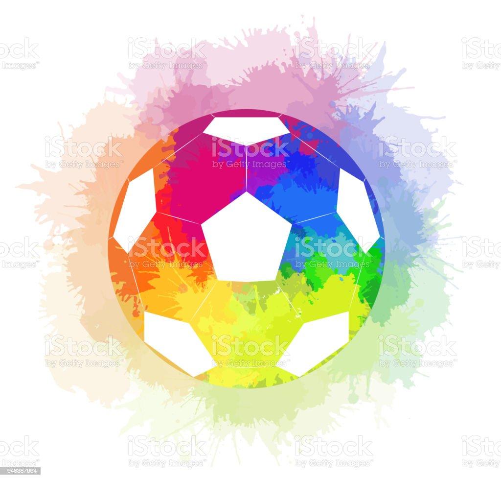 Fussball Mit Aquarell Regenbogen Hintergrund Und Aquarell