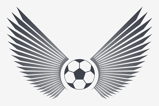 Soccer Ball with Wings. Winged Football Vector Emblem. Simple Silhouette That Can Be Integrated Into Any of Your Design Projects symbol or Tattoo. Sticker or Patch for Jackets, Shirt and T-Shirts