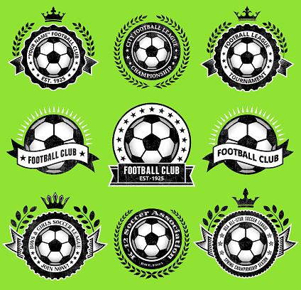 Soccer Ballblack & white Badges vector icon set