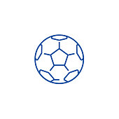 Soccer ball,football line icon concept. Soccer ball,football flat  vector symbol, sign, outline illustration.