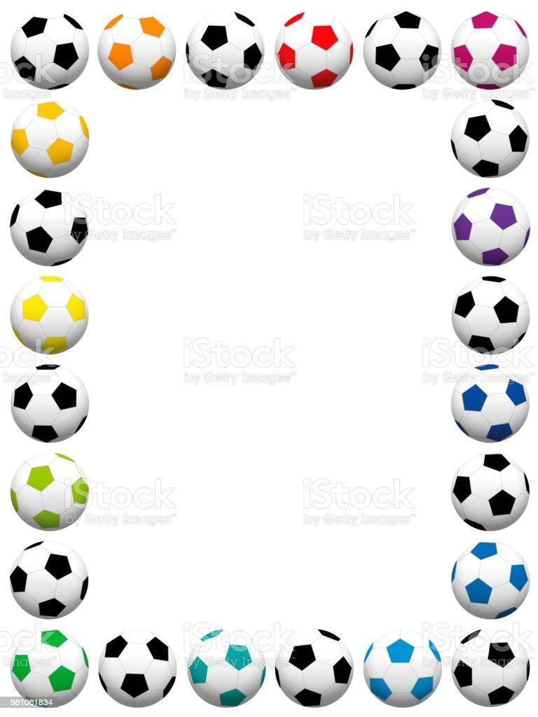 Balones de fútbol. Colores marco vertical. Ilustración de vectores aislados  sobre fondo blanco. d545ec7d6aa92