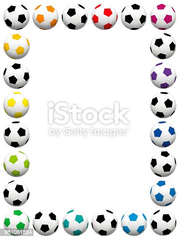 Soccer Balls Colorful Vertical Frame Isolated Vector Illustration On ...