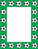 Vector illustration of black and white soccer balls on a green rectangle frame.