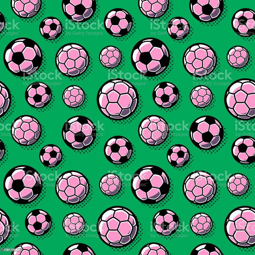 Bolas de futebol, sobre um fundo verde - ilustração de arte em vetor